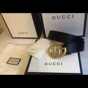 Marmont Black Leather Gold Brass GG Belt